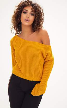 PrettyLittleThing Mustard Off Shoulder Knitted Crop Jumper