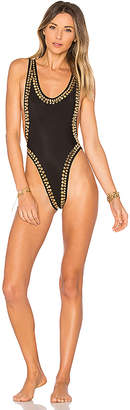 Norma Kamali Marissa Gold Stud Swimsuit in Black $605 thestylecure.com