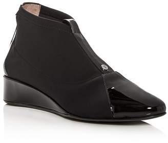 Taryn Rose Women's Camila Patent Leather & Neoprene Demi Wedge Booties