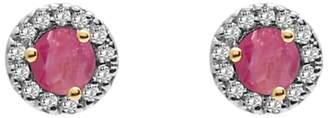 A B Davis 9ct Gold Diamond and Precious Stone Round Stud Earrings