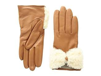 UGG Tech Leather Gloves with Sheepskin Bow
