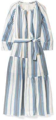 Apiece Apart Stella Striped Linen And Silk-blend Midi Dress - Navy