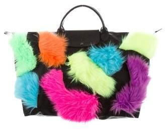 Jeremy Scott x Longchamp Faux Fur-Accented Large Pliage Tote w/ Tags