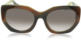 Balenciaga BA0017 47T Brown Horn Acetate Cat Eye Sunglasses