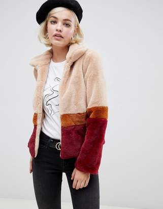 Glamorous jacket with contrast stripes in faux fur