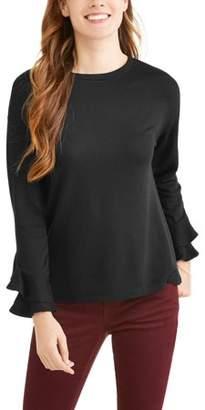 Como Blu Women's French Terry Floral Print Flutter Sleeve Sweatshirt