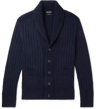Tom Ford Steve McQueen Shawl-Collar Ribbed Merino Wool Cardigan - Men - Navy