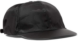 Valentino Camouflage-Jacquard Shell and Leather Baseball Cap - Men - Black