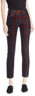 Acynetic Kelly Velvet Plaid Skinny-Leg Pants
