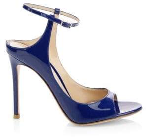 Gianvito Rossi Women's Patent Leather Ankle-Strap Sandals - Blue - Size 36 (6)