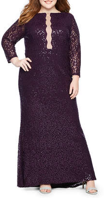 b9b5282328 BLU SAGE Blu Sage 3 4 Sleeve Lace Illusion Sequin Gown - Plus