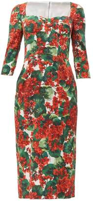 Dolce & Gabbana Sweetheart Bodice Geranium Print Cady Midi Dress - Womens - Red Multi