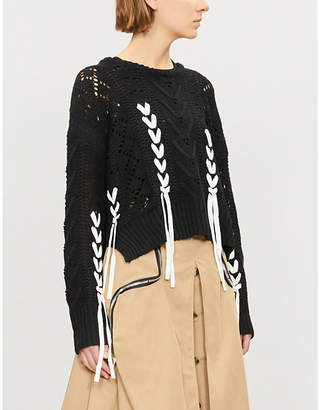 Izzue Lace-up chunky knitted jumper