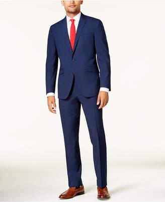 Kenneth Cole Reaction Men's Slim-Fit Cobalt Tonal Grid Techni-Cole Suit