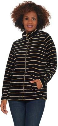 Factory Quacker Striped Lurex Knit Velvet Zip Front Jacket