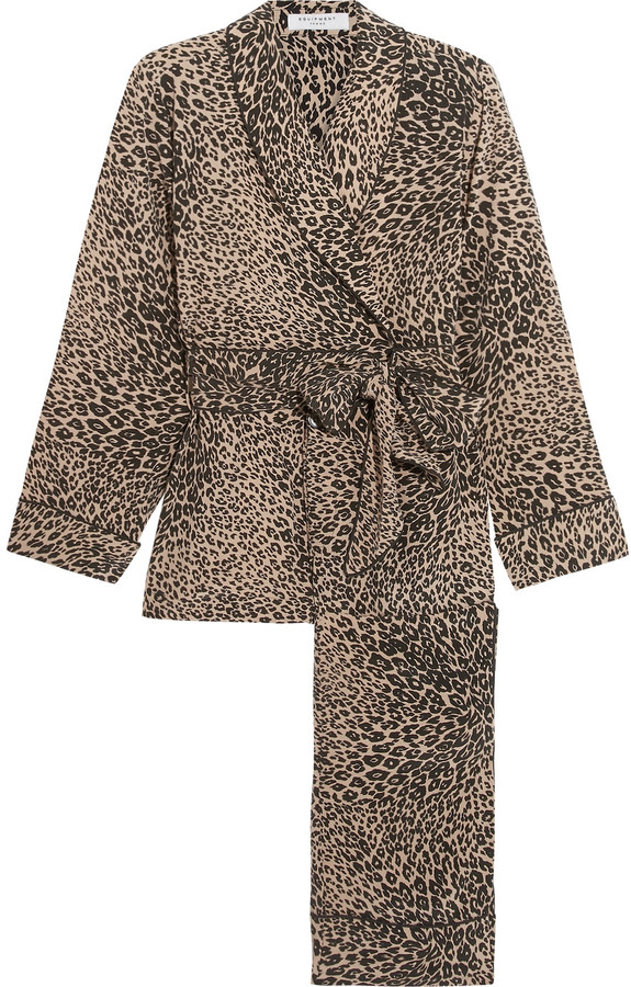 Equipment Equipment Odette leopard-print washed-silk pajama set