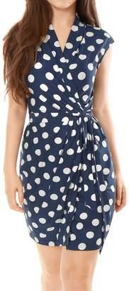 Allegra K Women's Dots Sleeveless Tie Waist Above Knee Wrap Dress XL