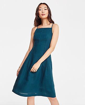 Ann Taylor Petite Linen Blend Halter Flare Dress