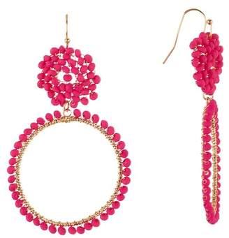 Panacea Hot Pink Crystal Hoop Earrings
