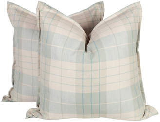 One Kings Lane Vintage Sea Foam and Cream Plaid Pillows - Set of 2