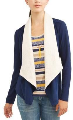 Self Esteem Juniors' Fleece Lined Cardigan with T-Shirt & Necklace 3Fer