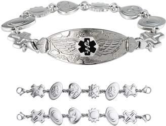 """Charm & Chain Divoti Custom Engraved Angel Wing Medical Alert Bracelet -Retro Reversible Charm Chain -Black -6.5"""""""