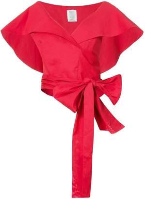 Rosie Assoulin geometric wrap cropped top