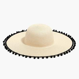 11808793b38 J.Crew Straw hat with pom-poms