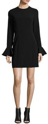 MICHAEL Michael Kors Long Ruffle-Sleeve Crepe Sheath Dress, Black $155 thestylecure.com