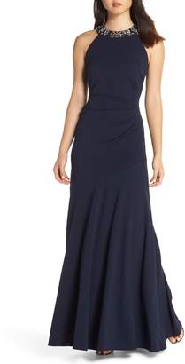 Vince Camuto Beaded Neck Trumpet Gown