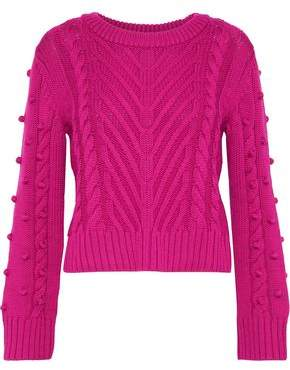 A.L.C. Aubry Pompom-Embellished Cable-Knit Wool Sweater
