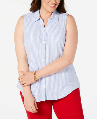 Charter Club Plus Size Sleeveless Button-Front Cotton Top