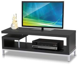 Yaheetech Black Wood TV Stand Console Table with Steel Leg for Flat Screens
