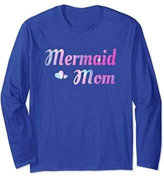 Long Sleeve Sparkly Mermaid Mom Tee Bday Party Shirt