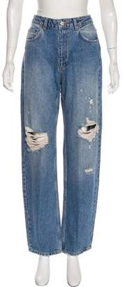 Anine Bing High-Rise Straight-Leg Jeans w/ Tags