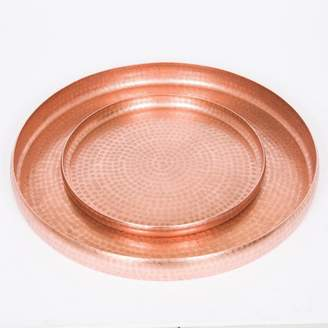 J & K Europe Imports Round Antique Copper Trays Set/2