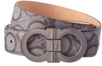 Salvatore Ferragamo Double Gancio Logo Embossed Leather Adjustable Belt