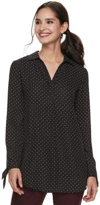 Elle Women's Tie-Hem Splitneck Tunic