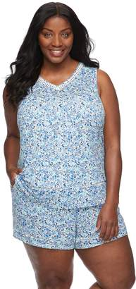 Croft & Barrow Plus Size Printed Tank & Shorts Pajama Set