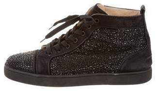 Christian Louboutin Louis Flat Veau Velours/Strass Sneakers