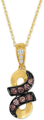 LeVian Le Vian Chocolatier Diamond Twist Pendant Necklace (1/5 ct. t.w.) in 14k Gold