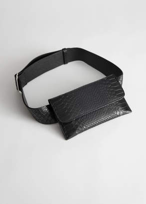 And other stories Snake Embossed Leather Beltbag