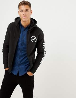 Hollister sleeve print logo full zip hoodie in black