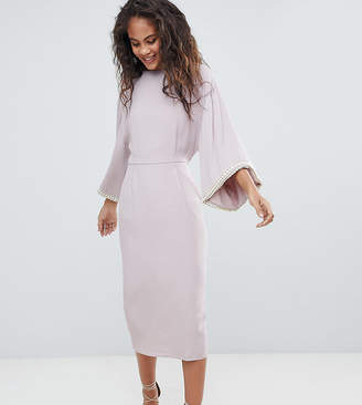 Asos Tall DESIGN Tall embellished kimono midi dress with pearl trim