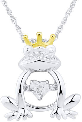 FINE JEWELRY Love in Motion Diamond Accent Sterling Silver Frog Pendant Necklace