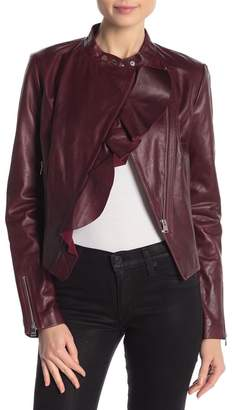 LAMARQUE Ruffle Front Leather Jacket