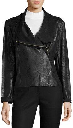 Tahari ASL Faux-Leather Asymmetric-Zip Jacket, Black $99 thestylecure.com