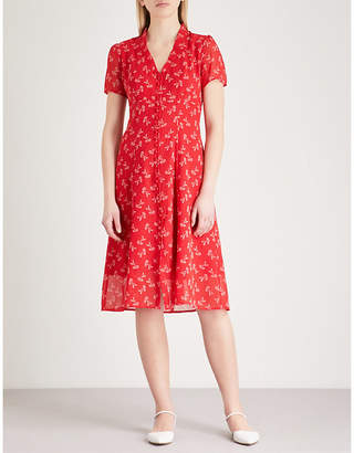 The Kooples Floral-print buttoned crepe dress