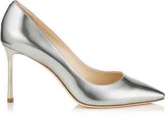 Jimmy Choo ROMY 85 Silver Liquid Mirror Leather Pointy Toe Pumps