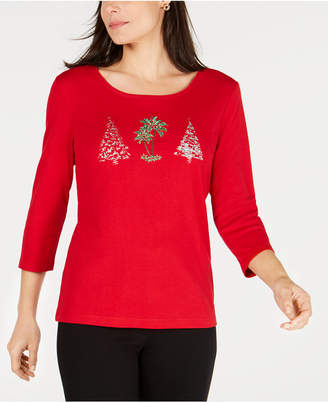 Karen Scott Embellished Holiday-Graphic T-Shirt